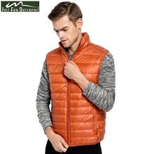 Новое поступление 2019, брендовая мужская куртка без рукавов, зимний ультралегкий жилет на белом утином пуху, мужской тонкий жилет, мужской ветрозащитный Теплый жилет