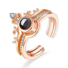 Adjustable Luxury Zircon Engagement Open Rings for Women Female Weddin