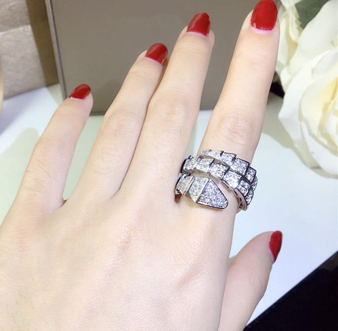 все цены на Pure 925 sterling silver zircon snake ring for women three circle luxury brand design crystal rose gold snake head finger ring