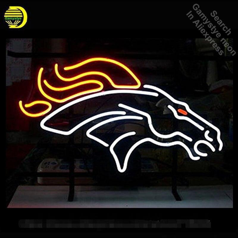 Cheval néon enseigne néon ampoules signe chevaux néon lumières réel verre Tube artisanal emblématique signe magasin affichage 17X14 pouces Lampara art