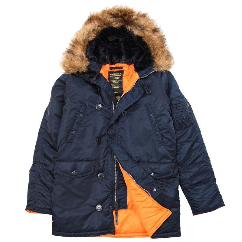 N3B Men s Polar Winter clothes slim N 3B amry USA Flying Parka warm Long Jacket