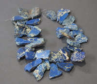 Blue Emperor Stone Freeform Chips Nugget Gemstone Beads, Top Drilled Sea Sediment Imperial Jasper Chunky Slabs Necklace