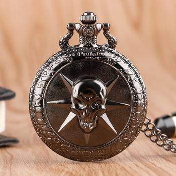 Fashion Black Gothic Style Cross Fire Evil Skull Quartz Pocket Watch Men Women Boys Necklace Pendant Birthday Gift P425