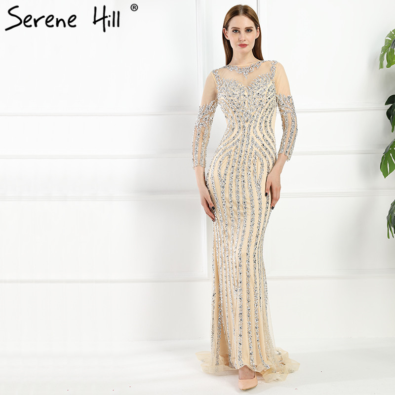 Luxury Illusion Back Dubai Mermaid Evening Dresses 2017 Real Picture Crystal Beaded Sequins Long Prom Dress
