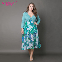 S FLAVOR Brand Women Big Size Dress Bohemian Style Women Summer Autumn Printing Patchworking Long Dresses