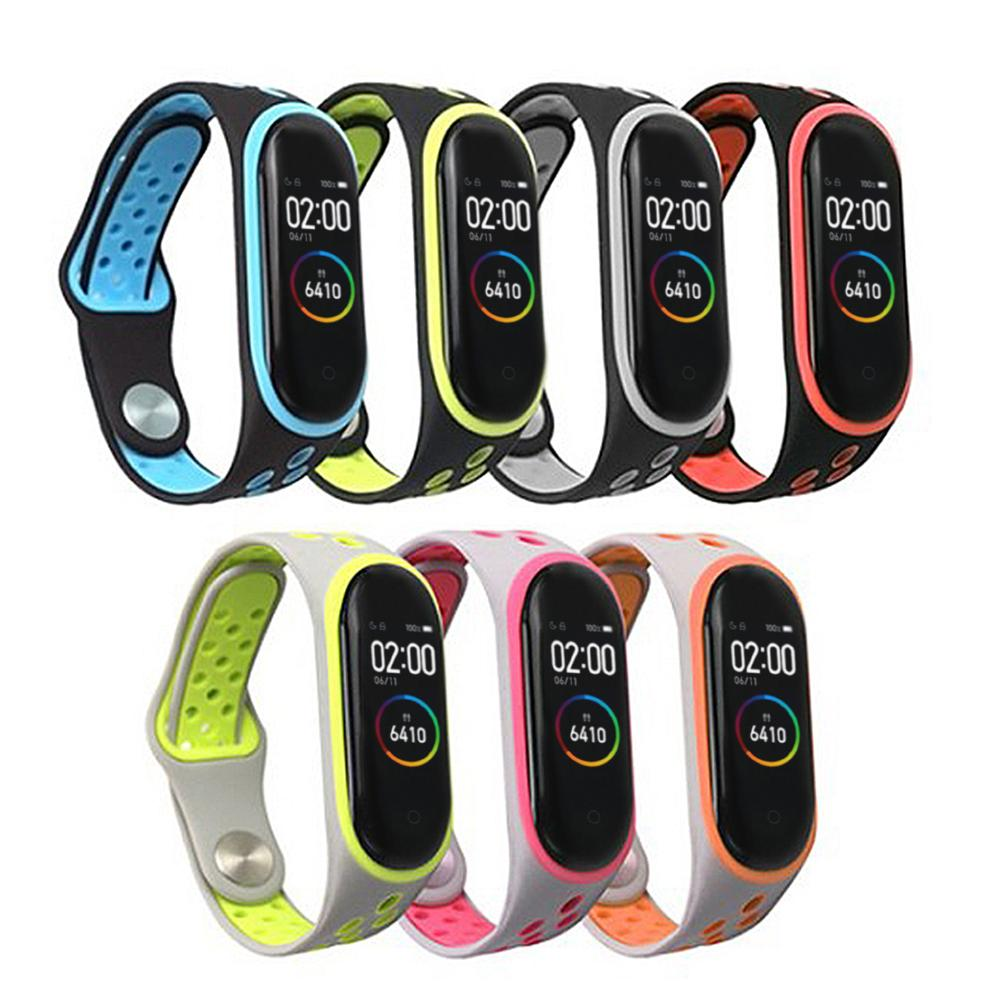 Newest Sport Strap Double-color Silicone Bnad Strap For Xiaomi Mi Band 3 4 #BW