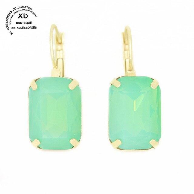 Transporte da gota por atacado Verde opal cobre banhado a ouro de cristal oscila o brinco declaração para as mulheres pendietes trendy brincos bijoux jóias
