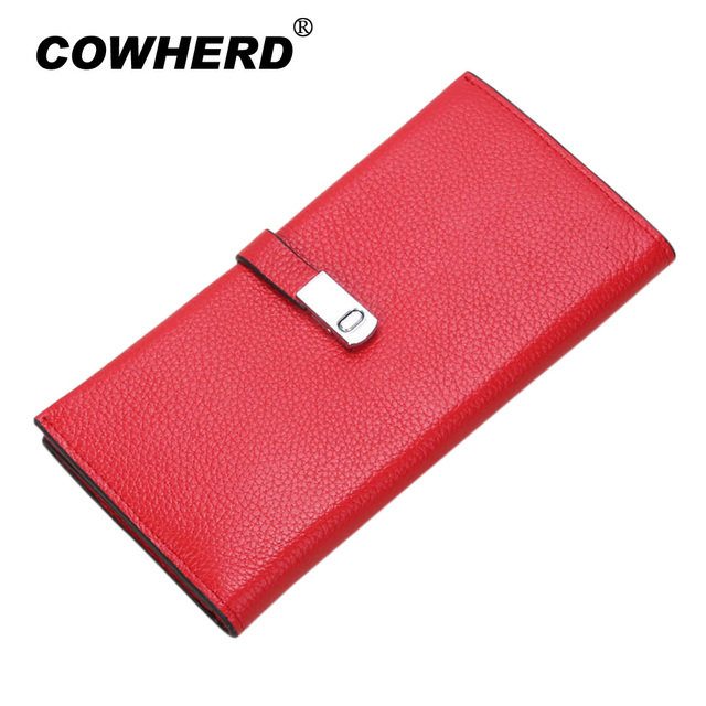 COWHERD Brand Top Layer Genuine Cow Leather Women Long Wallets Female Clutches Ladies High Quality Cowhide Hasp Purses Bag