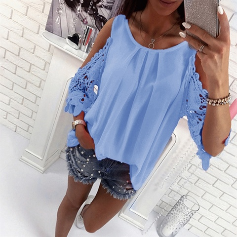 Bigsweety Ladies Blouse Fashion Womens Off Shoulder Tops Blouse Shirts Summer Hot Hollow Out Sleeve Shirt Boho Tunic Tops Pakistan