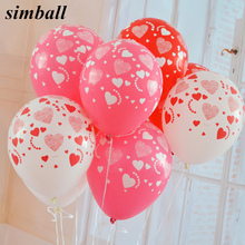 10pcs/lot 12 inches Printed Full Heart Balloons High Quality Wedding Marry Valentine Balloons Decoration Party Balloons Supplies valentine love heart balloons patterned door art stickers