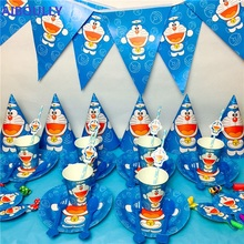 Party Supplies 50pcs For 6 kids Doraemon Theme Birthday Party Decoration Tableware Set Plate+Cup+Straw+Banner+Topper