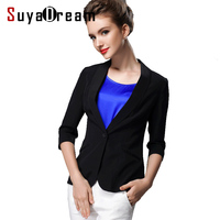100% pure REAL SILK women SOLID BLACK WHIT high quality OFFICE LADY feminino BLAZER JACKET blaser work suit 2017 fall new