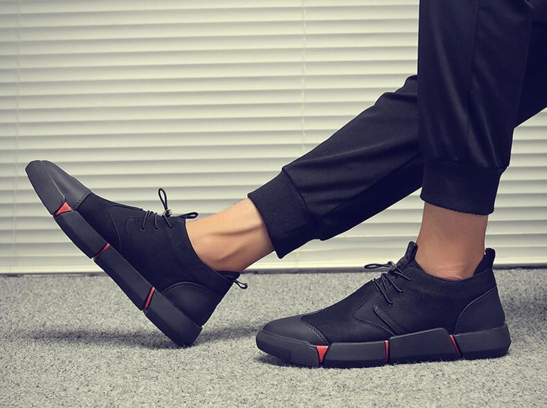 HTB1BKnqKv1TBuNjy0Fjq6yjyXXan Brand High quality all Black Men's leather casual shoes Fashion Sneakers winter keep warm with fur flats big size 45 46 LG-11