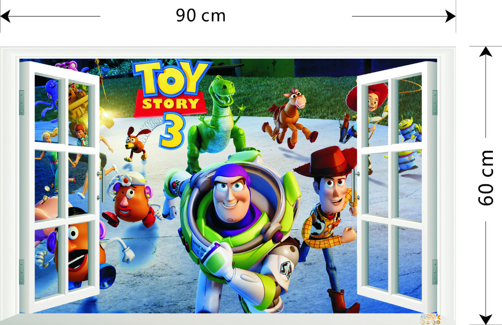 Best Selling Toy Story 3 Cartoon 3D Window Scenery Wall Decals Sticker For  Kids Rooms Home Nursery Kids Rooms Decor 1403 In Wall Stickers From Home U0026  Garden ... Part 49