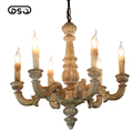 Vintage Amercian Rustic Wooden Chandelier Lamp Living Hotel and Bedroom Ceiling Light Fixture Chandeliers