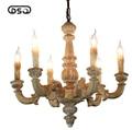 Vintage Amercian Rustic Wooden Chandelier Lamp Living Hotel and Bedroom Ceiling Light Fixture Chandeliers