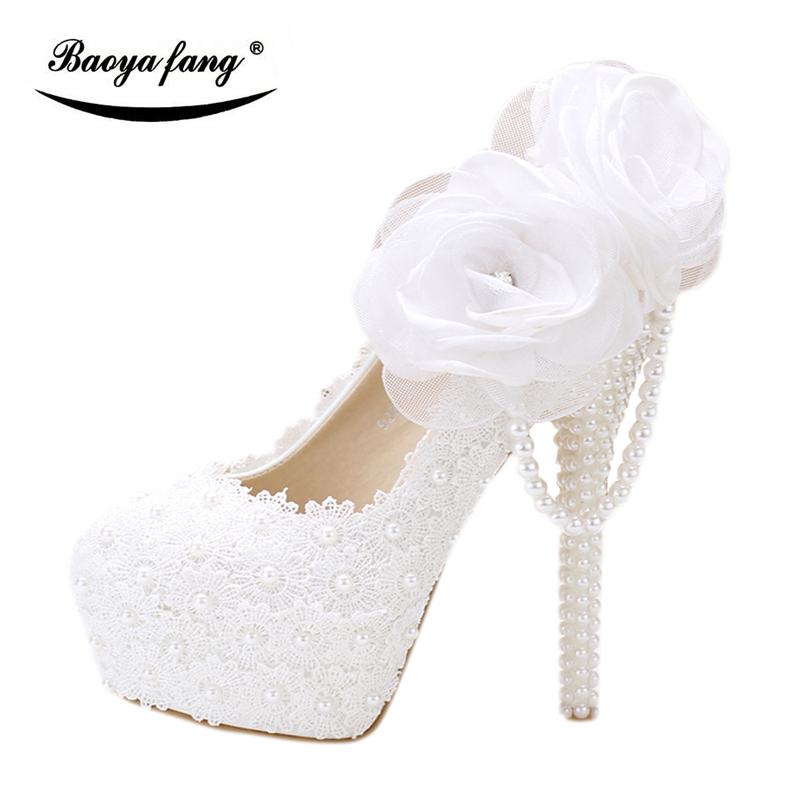 BaoYaFang white flower Women wedding shoes Bride Party dress shoes woman High heel platform shoes ladies handmade Lace shoe цены онлайн