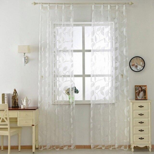 NAPEARL Organza tende di tulle disegno bianco del foglio di tessuti trasparenti porta della cucina tende pura pannello trasparente tende della finestra