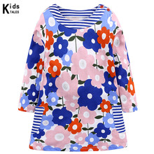 New cute dress for girls princess long-sleeved clothes little 2-7 years old with floral print