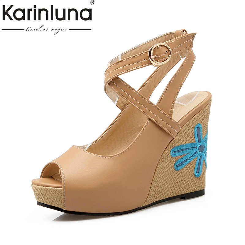 KARINLUNA brand summer shoes sandals women size 33-43 peep toe women shoes sexy embroidery wedge high heels wedding shoes woman karinluna best quality crystals brand big size 34 43 sexy high heels summer sandals shoes women party woman shoes