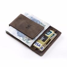 teemzone Männer Echtes Leder Brieftasche Business Casual Kreditkarte ID Halter mit Starken Magnet Geldscheinklammer