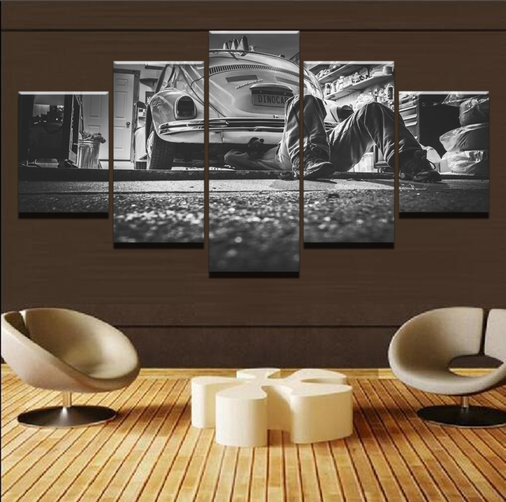 Modern Painting Frame Canvas Print Poster Wall Art Decor For Living Room 5 Panel Old Car Vintage Repairing Landscape