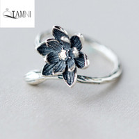 QIAMNI 925 Sterling Silver Unique Blue Lotus Flower Open Finger Ring Christmas Party Gift for Women Girl Accessories Jewelry