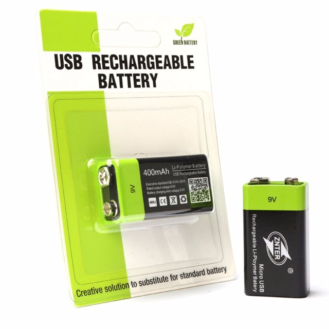 ZNTER 9 V 400 mAh USB Pin Sạc 9 V Pin Lithium Polymer Cho RC Camera Máy Bay Không Người Lái Phụ Kiện Pin Thả vận chuyển