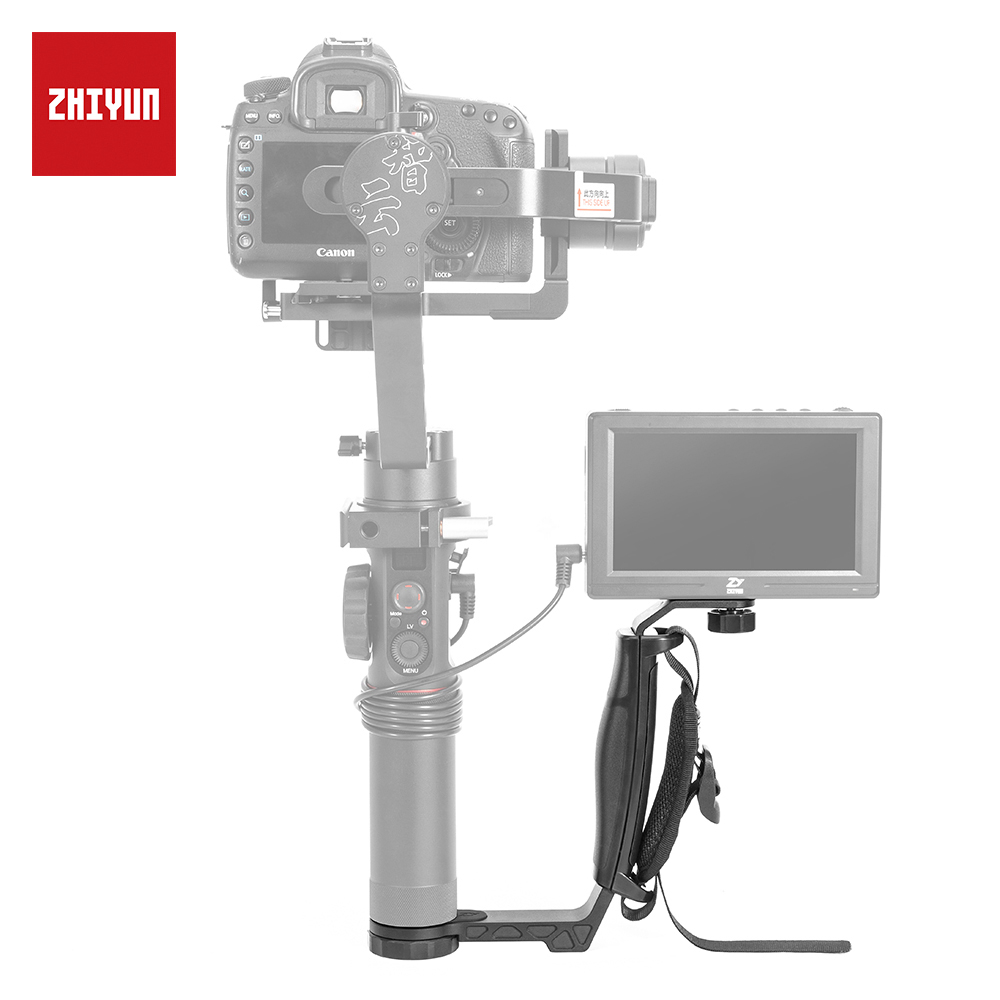 ZHIYUN Official Crane 2 Gimbal Accessories L Bracket TransMount Mini Dual Grip for LED Light/Microphone/Monitor zhiyun mini dual grip transmount single handle grip l bracket rig 1 4 screw connector for zhiyun crane series gimbal stabilizer