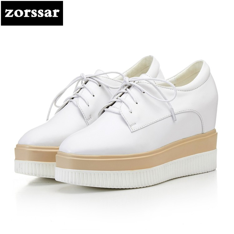 {Zorssar} 2018 New Patent leather female dress shoes casual platform increased internal High heels fashion women Creepers shoes bling patent leather oxfords 2017 wedges gold silver platform shoes woman casual creepers pink high heels high quality hds59