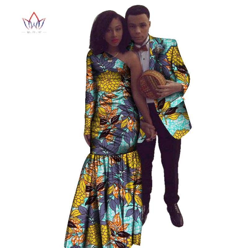 2018 nouvel an africain Dashiki pour les femmes automne robe Bazin Riche hommes costume sirène fête Vestidos grande taille coton 4xl BRW WYQ17 - 6