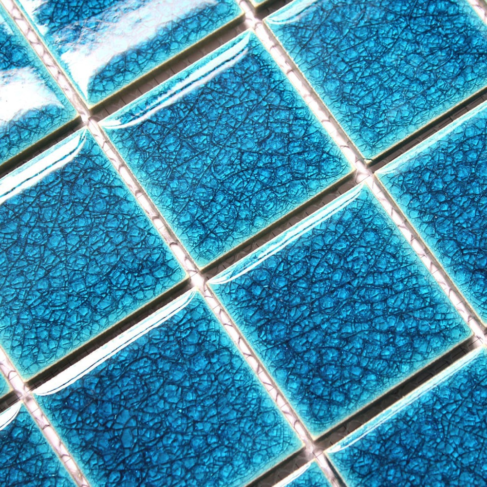 Ceramic mosaics blue crackle tiles glazed porcelain swimming pool ...