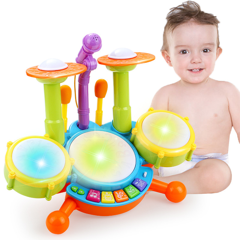 Musical Toys Plastic Drum With Colorful Lights 5 Scales Key Type Baby Toy For 13-24 Months Kids Educational Toys For Children new the european ce standards pp plastic baby walkers scooters musical scooter for children 2 years of age or older