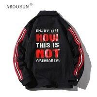 ABOORUN Men's Hip Hop Denim Jackets Words Letters Printed Denim Jackets Spring Autumn Coat for Male R466