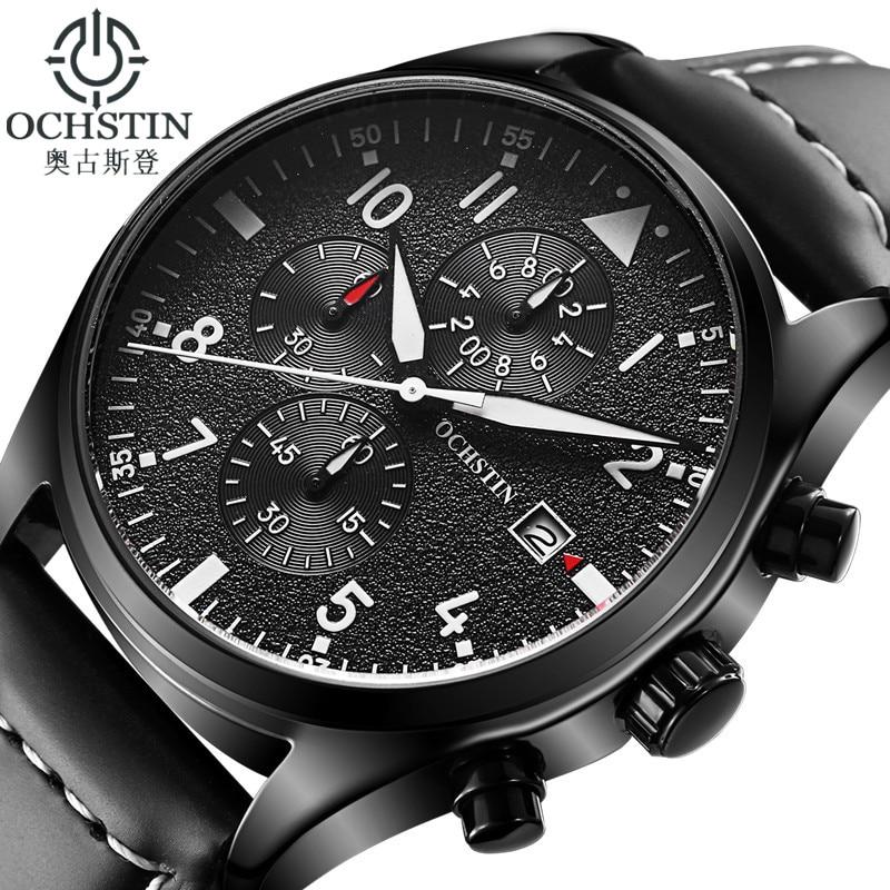Montre OCHSTIN hommes d'affaires chronographe lumineux étanche montre-bracelet hommes de luxe marque en cuir Quartz Sport Relogio Masculino
