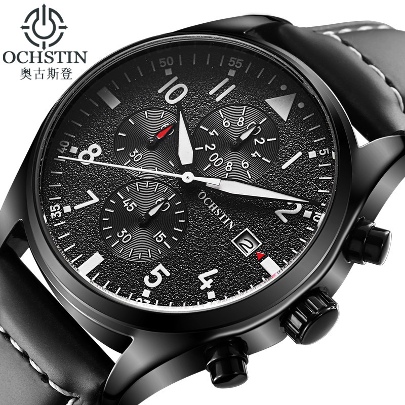 OCHSTIN Watch Men Business Chronograph Luminous Waterproof Wristwatch Mens Luxury Brand Leather Quartz Sport Relogio Masculino