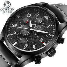 OCHSTIN Watch Men Business Chronograph Luminous Waterproof Wristwatch Mens Luxury Brand Leather Quartz Sport Relogio Masculino(China)