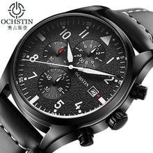 OCHSTIN ساعة رجال الأعمال كرونوغراف مضيئة مقاوم للماء ساعة اليد رجالي ماركة فاخرة جلدية كوارتز الرياضة Relogio Masculino