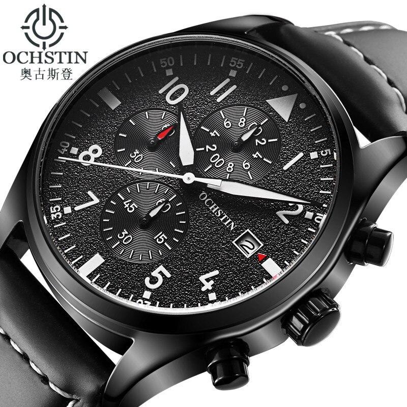 Ochstin relógio masculino negócio cronógrafo luminoso à prova dwristwatch água relógio de pulso dos homens de luxo marca couro quartzo esporte relogio masculino