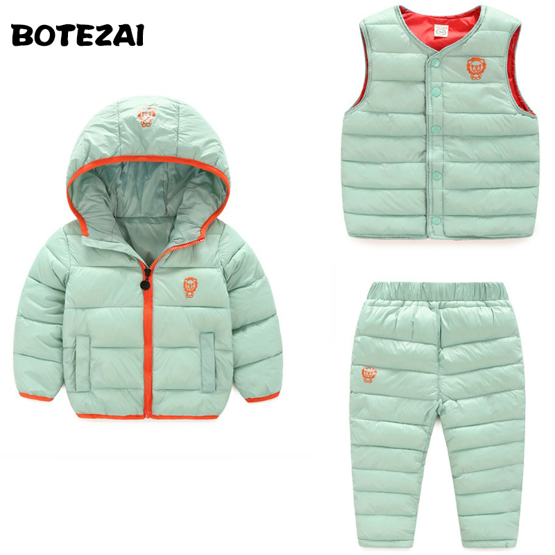 (3 pieces) Winter Kids Clothing Sets Warm Duck Down Jackets Clothing Sets Baby Girls & Baby Boys Down Coats Set With Pants casual 2016 winter jacket for boys warm jackets coats outerwears thick hooded down cotton jackets for children boy winter parkas