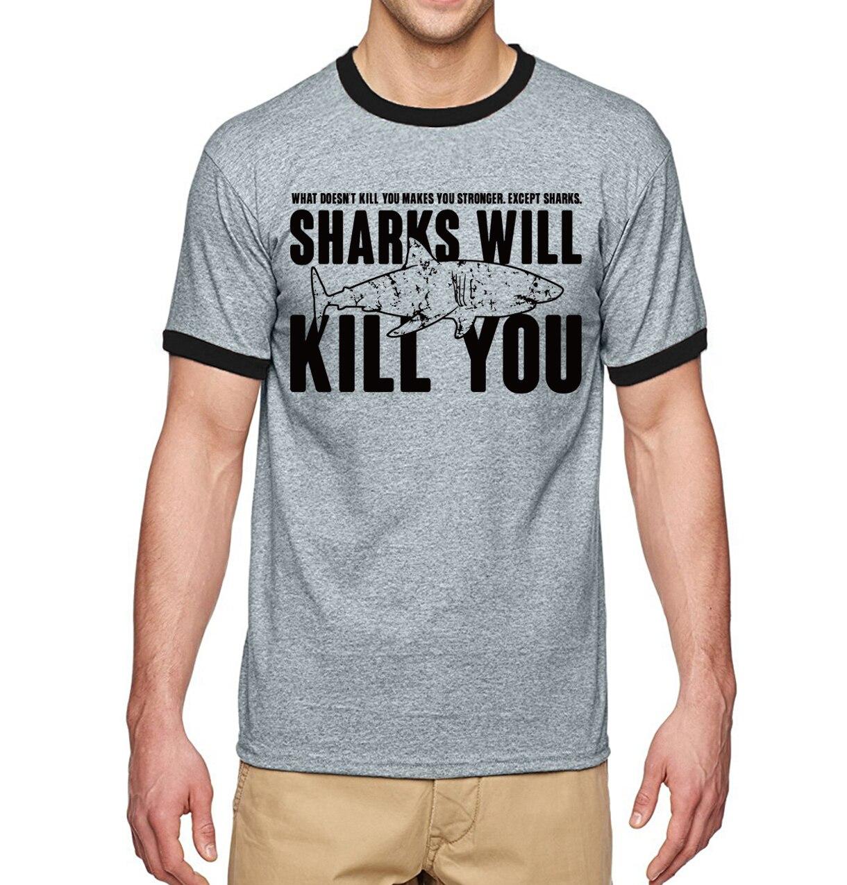 """""""Sharks will kill you"""" Shark T-Shirt for Men 3"""