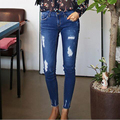 2017 Blue Waist Jeans Woman elastic Skinny Holes Jeans For Women Boyfriend Jeans For Women Elastic Ripped Jeans Plus Size 1018#