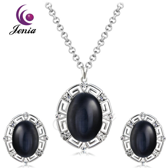 Jenia unique design high quality black opal jewelry set for women jenia unique design high quality black opal jewelry set for women white gold color earrings and aloadofball Images