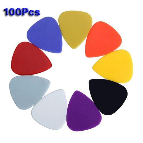 SEWS Approx. 100pcs Plastic Guitar Picks Plectrums--Assorted Random Color