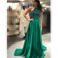 Emerald Green Evening Dresses Long Formal Evening Prom Gowns Two 2 Pieces vestido de fiesta A Line 2019 Formal Gowns Wear