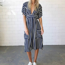 Bohemian Dress 2019 Spring Summer Women's Dress  Fashion Casual Striped Sexy V-neck Open Back Tether Pocket Stripe Dresses Blue hidden pocket longline stripe dress