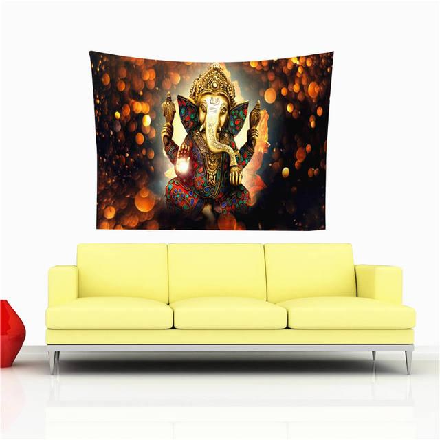 Elephant Buddha Statue Tapestry Wall Hanging Cloth Bedspread Dorm ...