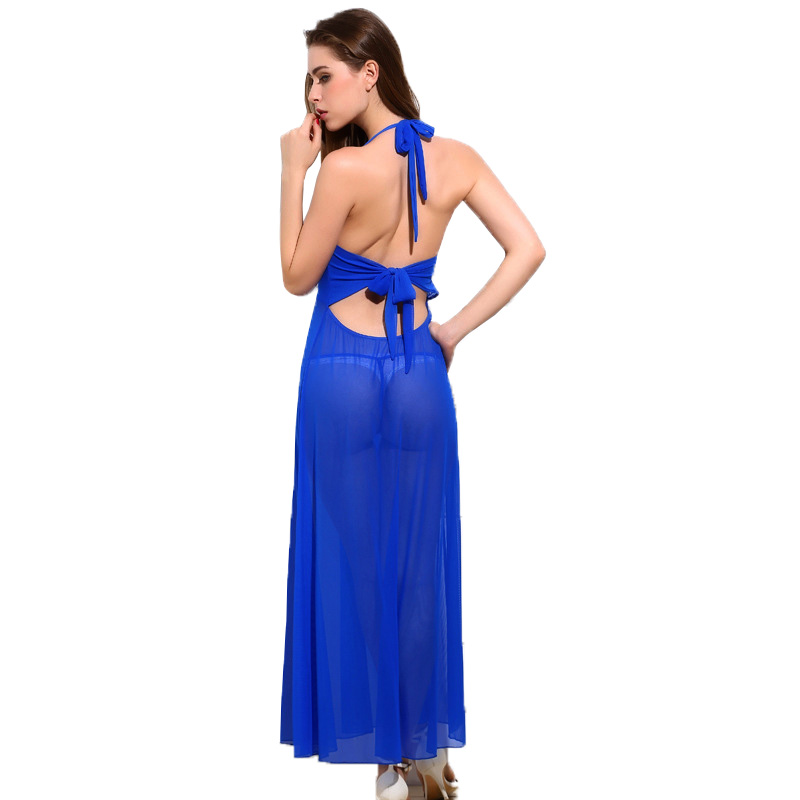 Sexy Halter Nightdress Lace Nightgown Women Sleepwear Backless V-neck Sleeveless Nightwear Sleeping Dress Pijama Pyjama Bathrobe