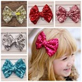 EMS DHL free shipping Baby Girl's Sequined Bow 10 Colors Bling Hair Bows WITH Clip Girls' Boutique Hair Clip Hair Accessories