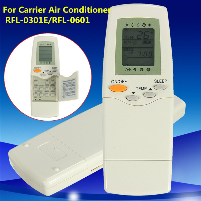 NEW White Air Conditioner Remote Control For Carrier FL-0301E RFL-0601 universal 1 5 lcd air conditioner a c remote control controller white 2 x aaa